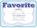 Favorite Certificate