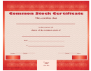 Common Stock Certificate - Red