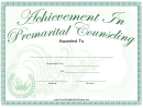 Achievement Of Premarital Counseling Certificate