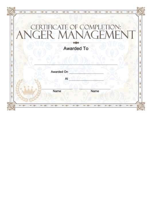 anger management certificate printable pdf download