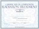 Radiation Treatment Certificate