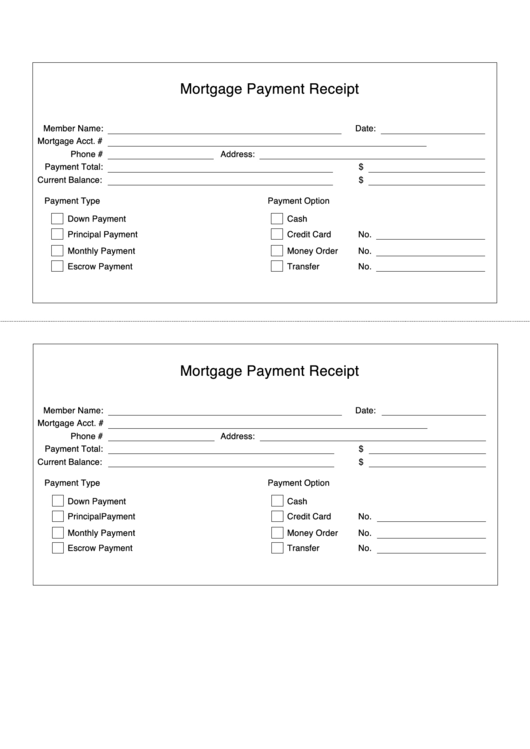 Mortgage Payment Receipt Spreadsheet Printable pdf
