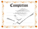 Orange Certificate Of Completion Template