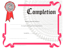 Pink Certificate Of Completion Template