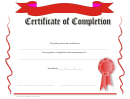 Red Certificate Of Completion Template