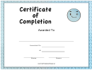 Blue Certificate Of Completion Template