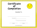 Yellow Faces Certificate Of Completion Template