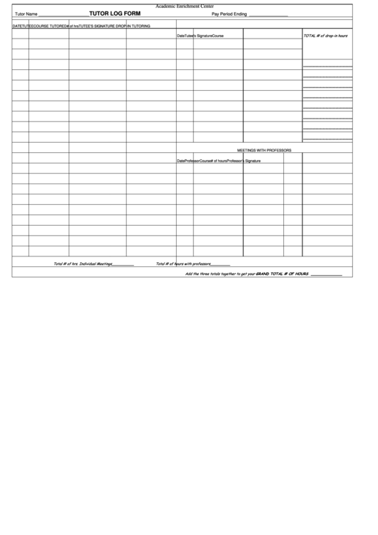 tutor log form printable pdf download