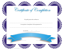 Certificate Of Completion Template - Blue