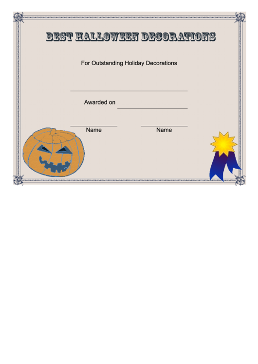 Best Halloween Decorations Certificate