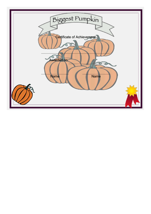 Biggest Pumpkin Certificate