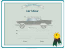 Car Show 3rd Place Certificate