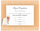 Project Completion Certificate Of Completion Template