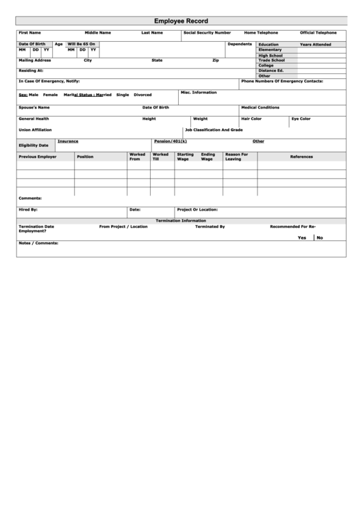 Top 5 employee earnings record templates free to download for Employee earnings record template