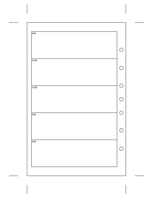 Hourly Planner Template - Day On A Page Printable pdf