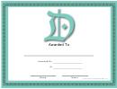 D Monogram Certificate Template