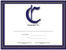 C Monogram Certificate Template