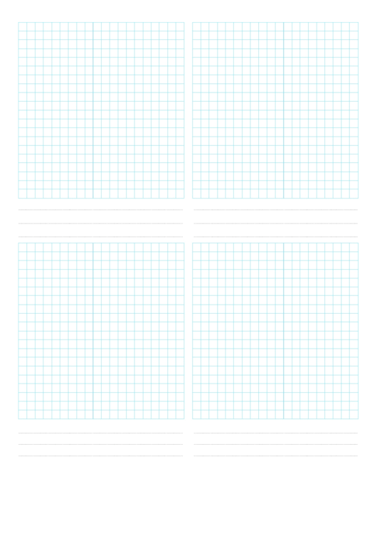 4-Up Grid Paper Template Printable pdf