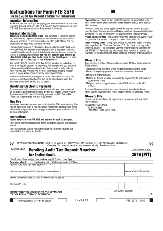 Form 3576 (Pit) - California Pending Audit Tax Deposit Voucher For Individuals Printable pdf