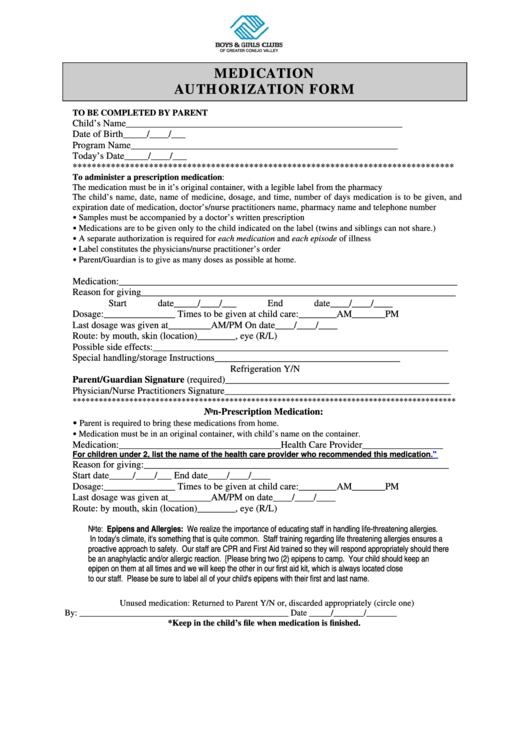 Medication Authorization Form Printable pdf