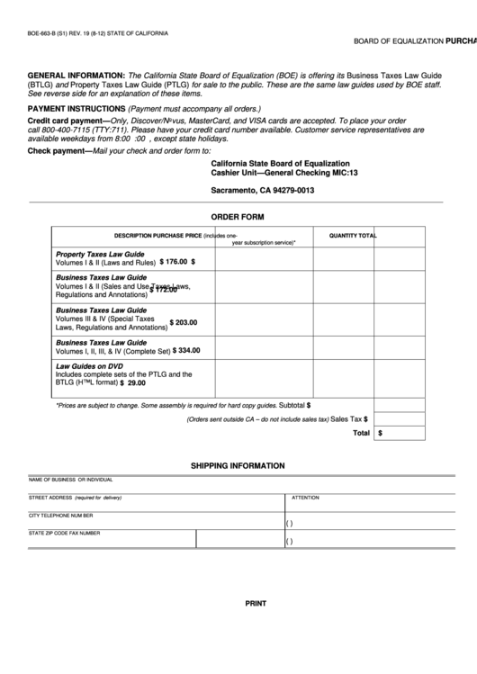 Fillable Form Boe-663-B - Purchase Order For Law Guides Printable pdf