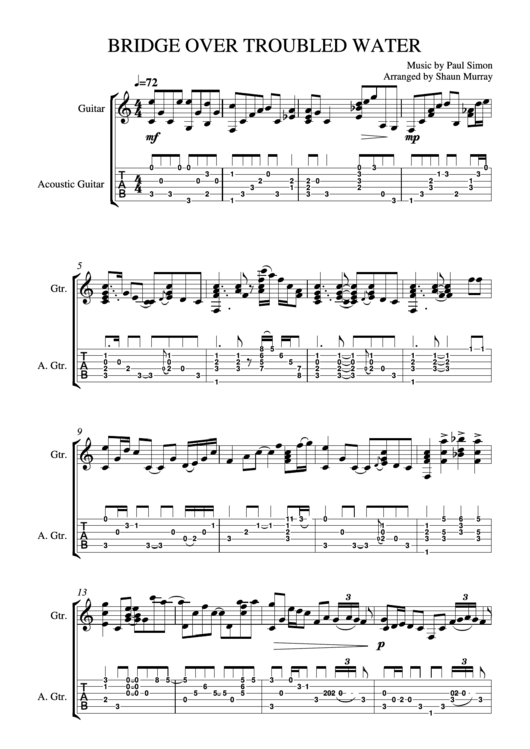 Bridge Over Troubled Water - Music By Paul Simon - Sheet Music ...
