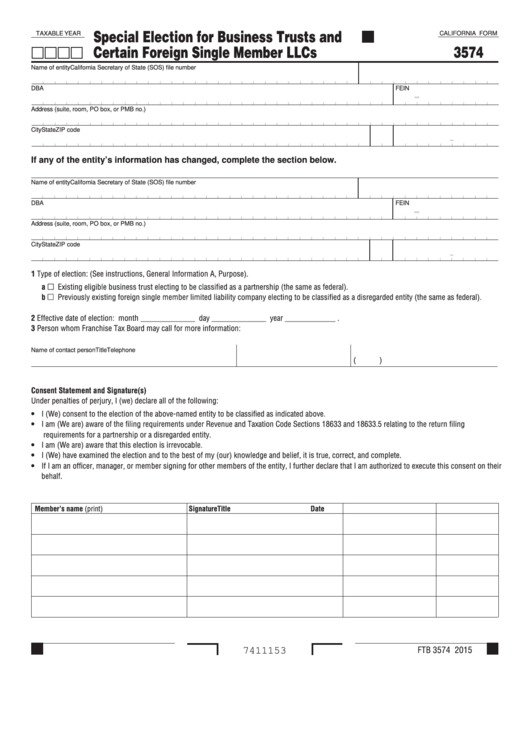 Fillable Form 3574 - California Special Election For Business Trusts And Certain Foreign Single Member Llcs Printable pdf