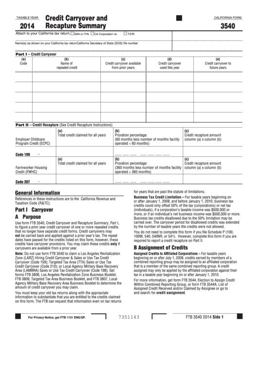 Form 3540 - California Credit Carryover And Recapture Summary - 2014 Printable pdf