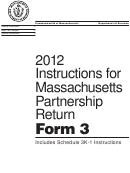 Instructions For Form 3 - Massachusetts Partnership Return - 2012