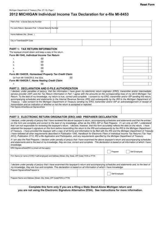 Fillable Form Mi-8453 - Michigan Individual Income Tax Declaration For E-File - 2012 Printable pdf