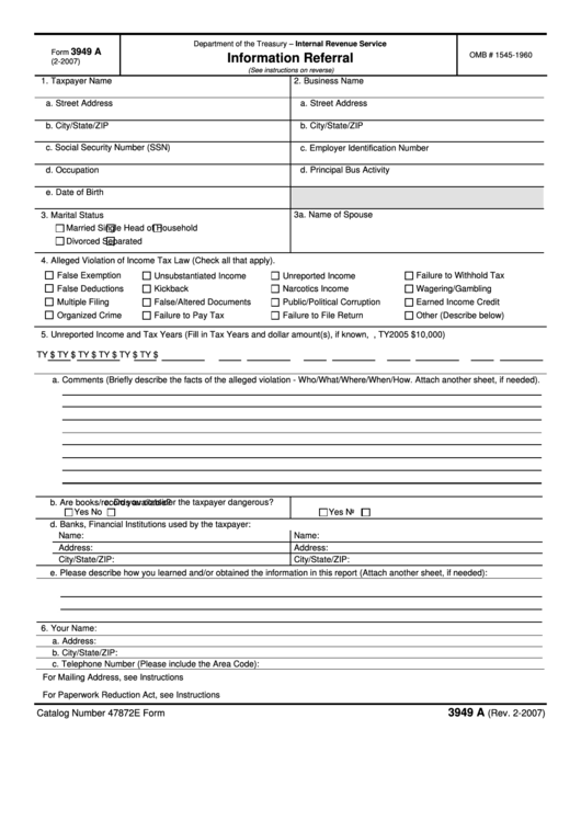 Fillable Form 3949 A Information Referral Printable Pdf Download