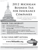 Form 4592 - Michigan Business Tax For Insurance Companies - 2012