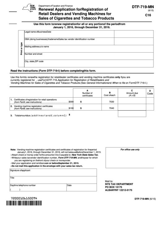 Dtf-719-Mn - Renewal Application For Registration Of Retail Dealers And Vending Machines For Sales Of Cigarettes And Tobacco Products Printable pdf