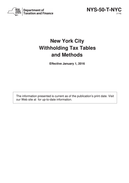 New York City Withholding Tax Tables And Methods - 2016