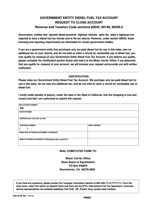 Fillable Form Boe-65-Df - Government Entity Diesel Fuel Tax Account Request To Close Account Printable pdf