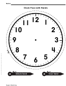 Clock Face With Hands Template