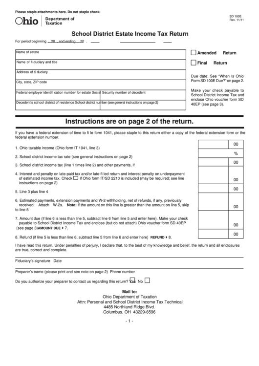 estate income tax return instructions