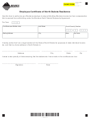 Form Nr-2 - Employee Certifi Cate Of North Dakota Residence