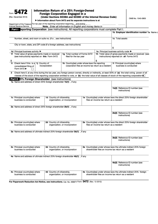 Fillable Form 5472 Information Return Of A 25 Foreign Owned Us