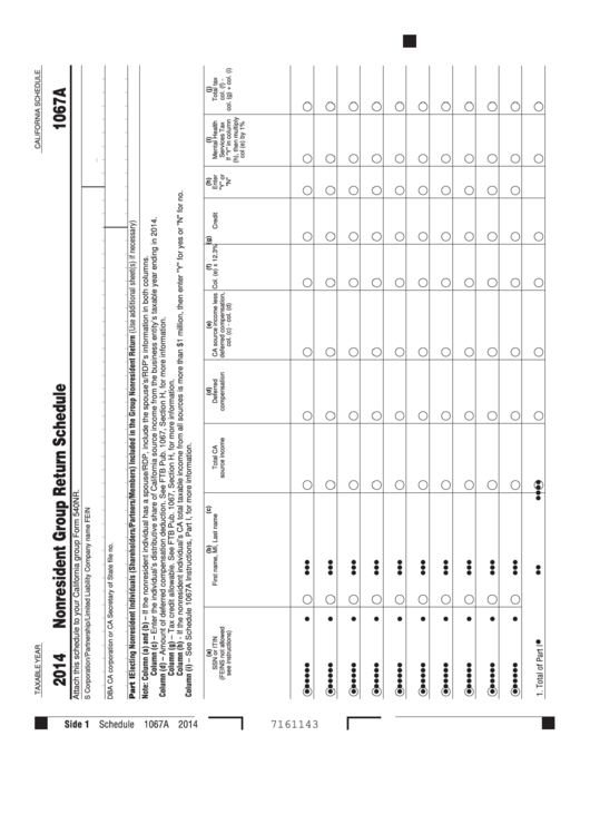 Schedule 1067a - California Nonresident Group Return Schedule - 2014 Printable pdf
