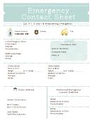 Emergency Contact Sheet Template