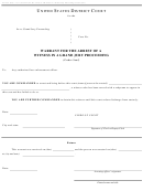 Form Ao 444 - Warrant For The Arrest Of A Witness In A Grand Jury Proceeding - United States District Court