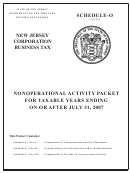 Schedule-o - Nonoperational Activity Packet For Taxable Years Ending On Or After July 31, 2007