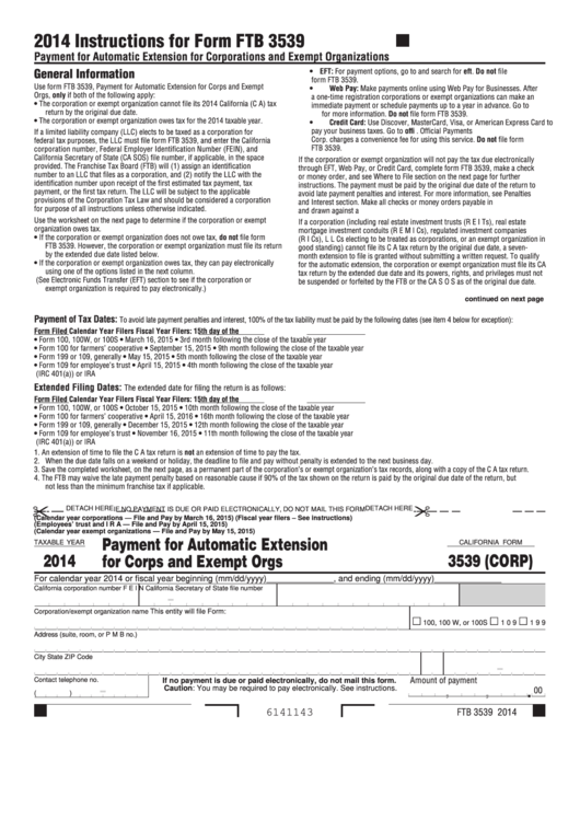 Form 3539 (Corp) - California Payment For Automatic Extension For Corps And Exempt Orgs - 2014 Printable pdf