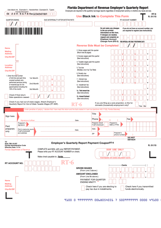 Fillable Form Rt 6 Florida Department Of Revenue Employers