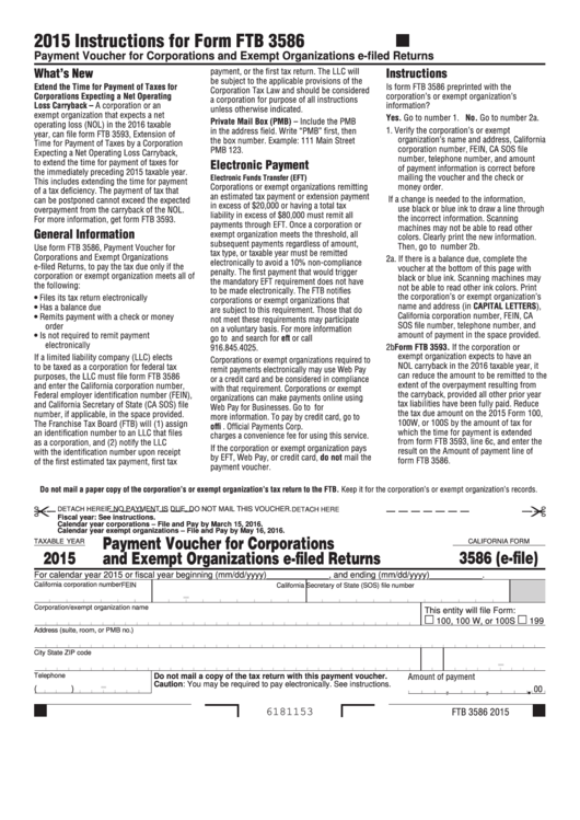 Form 3586 (E-File) - California Payment Voucher For Corporations And Exempt Organizations E-Filed Returns - 2015 Printable pdf