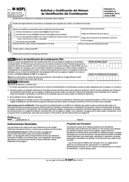 Fillable Form W-9(Sp) - Solicitud Y Certificacion Del Numero De Identificacion Del Contribuyente - 2013 Printable pdf