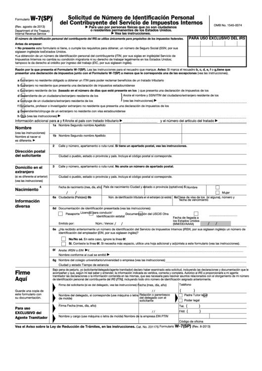 Fillable Formulario W-7(Sp) - Solicitud De Numero De Identificacion Personal Del Contribuyente Del Servicio De Impuestos Internos Printable pdf