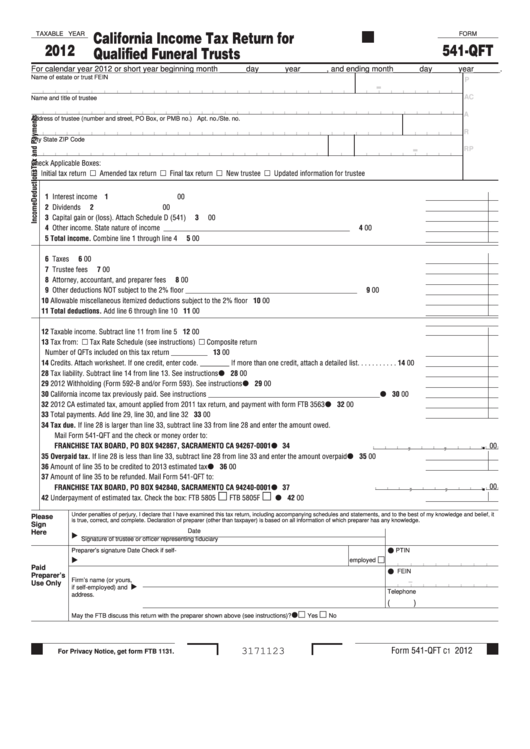 Fillable Form 541-Qft - California Income Tax Return For Qualified Funeral Trusts - 2012 Printable pdf