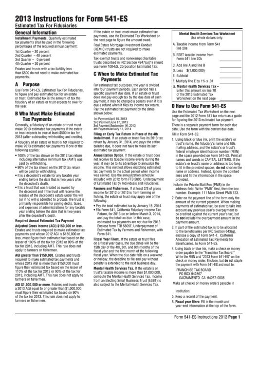 Fillable California Form 541-Es - Estimated Tax For Fiduciaries - 2013 Printable pdf